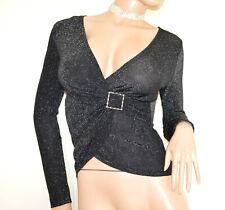 MAGLIETTA donna NERA maglia incrociatina maniche lunghe sottogiacca lurex G99