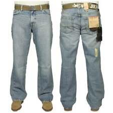 Enzo FBM20 Mens New Designer Flare Bootcut Faded Denim Light Wash Jeans BNWT