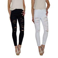 Damen High Waist Stretch Jeans Röhrenjeans Skinny Slim Fit Röhre Risse Hose E91