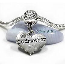 Silver Tone Love Godmother God Mom Heart w/ Crystal Dangle Charm fits Bracelets