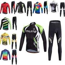 Miloto Men's Padded Cycling Pants Long Sleeve Bicycle Jersey Bike Clothing Kit
