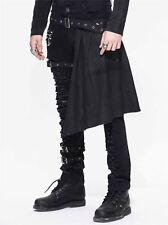 New Devil Fashion Rock Men Hole Pants Trousers Black Gothic Punk Steampunk+Skirt