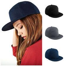 84509a3b719 Flat Peak Baseball Cap Hat H-Panel Adjustable Snapback Skateboard Style