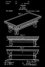 1895 - Billiard Table - B. Bark - Patent Art Poster