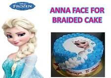 Frozen elsa princesss tresse visage & logo tressé anniversaire cup cake toppers comestible