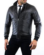 ★Giacca Giubbotto Uomo in di PELLE 100% Men Leather Jacket Veste Homme Cuir 29n2