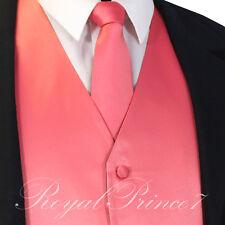 Coral Solid Men'sTuxedo Suit Vest Waistcoat and Neck tie Prom Wedding Party