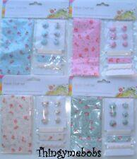 Tessuto Craft Set-Tessuto/pulsanti/nastro-Rosa/Blu/Crema/Verde-Artigianato/Cucito