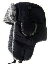 Ruso De Piel Ushanka Sombrero Para Hombre En Negro Y Gris de esquí Cazador Caballeros Invierno Ushanka