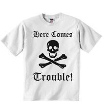 There Comes Trouble New Personnalisé Garçons Filles T-shirt T-shirts - Blanc