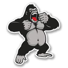 2 x Angry Gorilla Sticker Car Bike iPad Laptop Kids Monkey Ape Vinyl Decal #4136
