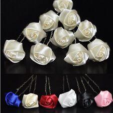 Set 10 épingles à cheveux roses fleurs mariée mariage communion Parure pour