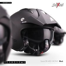 SOXON SR-400 MONO NOIR / CASQUE-JET DE MOTO SCOOTER VESPA CYCLOMOTEUR ECE XS-XL