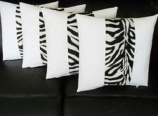 """4 White Faux Leather & Velboa Faux Fur Zebra Stripe Cushion Covers 16"""" 18"""" 20"""""""