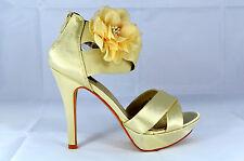 Elegante Damen Abendschuhe Pumps High Heels mit Blume Gr.35-40 Beige Neu A.8207