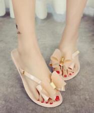 Womens Flats Bowtie Jelly Flip Flops Summer Beach Slippers Sandals Mules Shoes 8