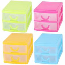 Family Dresser Plastic 2 Layers Trinket Make Up Container Desk Storage Box