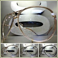 OVERSIZED VINTAGE RETRO Style Clear Lens EYE GLASSES Large Metal Fashion Frame