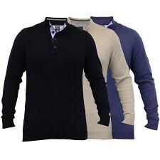mens knitted jumper funnel neck button winter sweater by Kensington Eastside