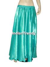Turquoise - Satin Skirt Belly Dance Costume Gypsy Tribal 4.5 Yard Half Circle