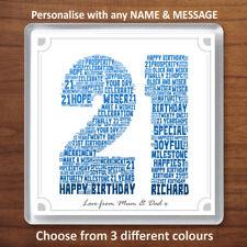 21st Birthday Personalised Word Art Drinks Coaster Gift Present 21