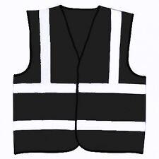 Sicurezza Nero Riflettente Hi Visibility Vest, 4 taglie, Equitazione, eventi ecc.
