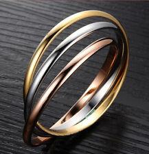 Edelstahl Triple Ring dreifach dreier 3 in 1 silber oder tri color Partnerring