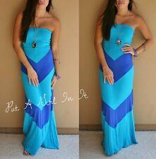 SEXY BLUE CHEVRON STRIPED BOHEMIAN LONG MAXI TUBE DRESS BOHO SUNDRESS S M L