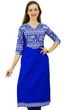 Phagun Women's Cotton Designer Kurta Blue Tunic Ethnic 3/4 Sleeve Kurta