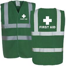 First Aid Printed Green Hi Viz Safety Vest - High Vis Waistcoat Paramedic Medic