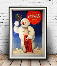 Coca Cola Nieve Hombre: la revista vieja publicidad bebida suave: reproducción de cartel