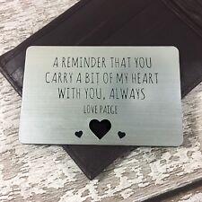 Personalised Wallet Insert Birthday Anniversary Gift Husband Boyfriend Engraved