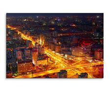 Wandbild Naturfotografie Verkehrskreuzung bei Nacht in Peking China auf Leinwand