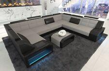 Wohnlandschaft im Stoff Mix PESARO U Form in grau Designer Couch LED Beleuchtung