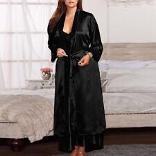 Women Long Daliy Silk Kimono Glamour Coat Babydoll Lace Lingerie Bath Robe Dress