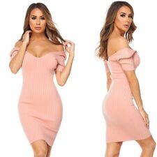 Peach V-Neck Off Shoulder Short Sleeve Ribbed Knit Dress, S, M, L