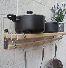 Vintage Ancien Antique Cuisine Style Rustique Étagère rack Pot Pan Rack Support Rail