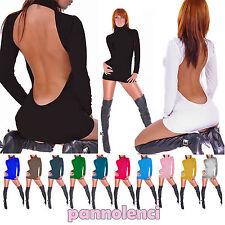 Miniabito dolcevita schiena nuda gogo mini abito donna MKRF1