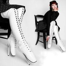Ballett Stiefel Lackstiefel Herren Damen Boots neu weiß Schuhe Unisex High-Heels