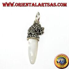Ciondolo in argento 925 testa di drago con punta in madreperla