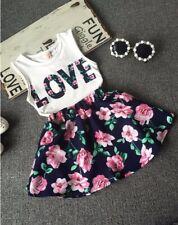 2pcs toddler Kids girls summer outfits clothes girls summer top Tee+skirt flower