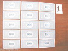 15 Banconote Monopoli in 100 lire vintage vecchio tipo