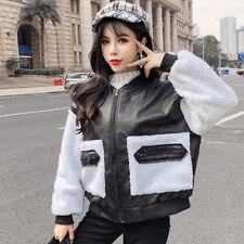 Lady Sherpa Faux Leather Coat Jackets Fleece Zipper Outwear Splice Loose Fashion