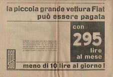 Mezza pagina pubblicità FIAT 500 - PAGAMENTO RATEALE SAVA 1936