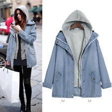 Winter Women Warm  Overcoat Collar Hooded Coat Jacket Denim Trench Parka Outwear