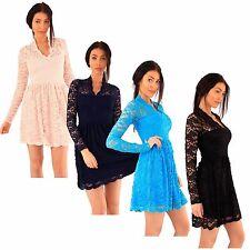 New ladies Low V-neck Floral Lace Flared Skater Dress 8-24
