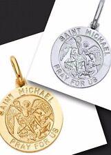 "GOLD saint st michael pendant 14K San Miguel Solid White Yellow charm .95"" 2g"