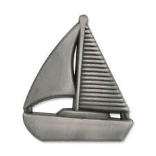 PinMart's Antique Silver 3D Nautical Sailboat Lapel Pin