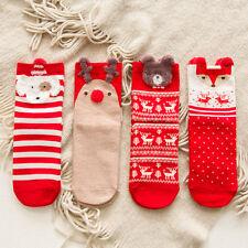 1 Pair Lovely Cartoon Animal Christmas Red Socks Cotton Short Warm Socks Gift