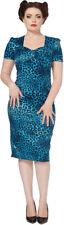 Voodoo Vixen vintage Leopard pin up leo vestido/pencil dress-azul rockabilly